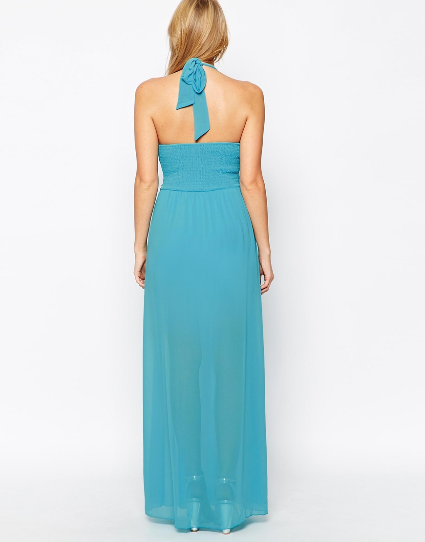 maxi dress with sheer skirt in blue lyst