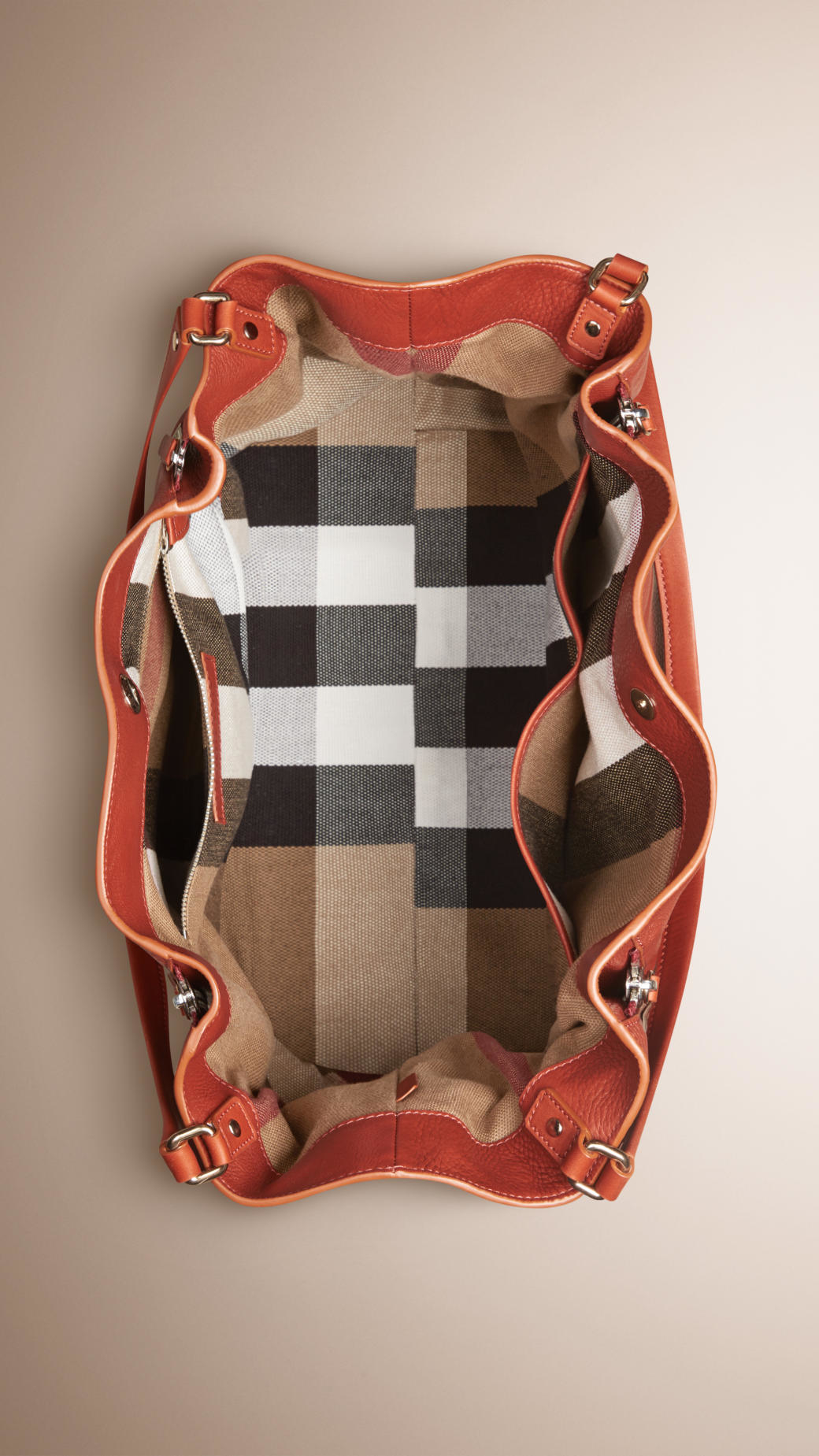 ea29540cfb56 Lyst - Burberry Medium Check Detail Leather Tote Bag in Brown