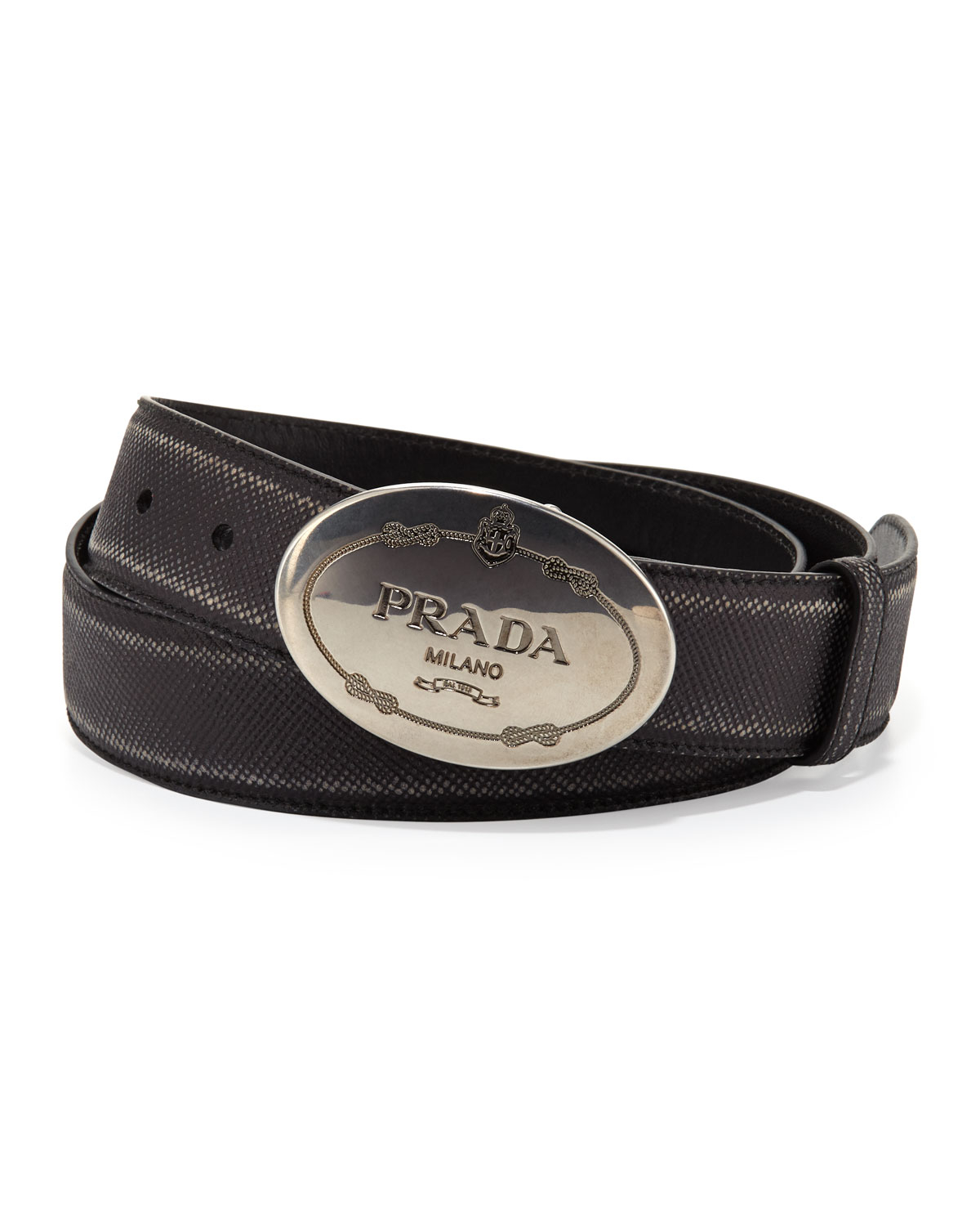 3aafd3ba6112b ... czech prada saffiano logo buckle belt in black for men lyst 27e29 bdef8