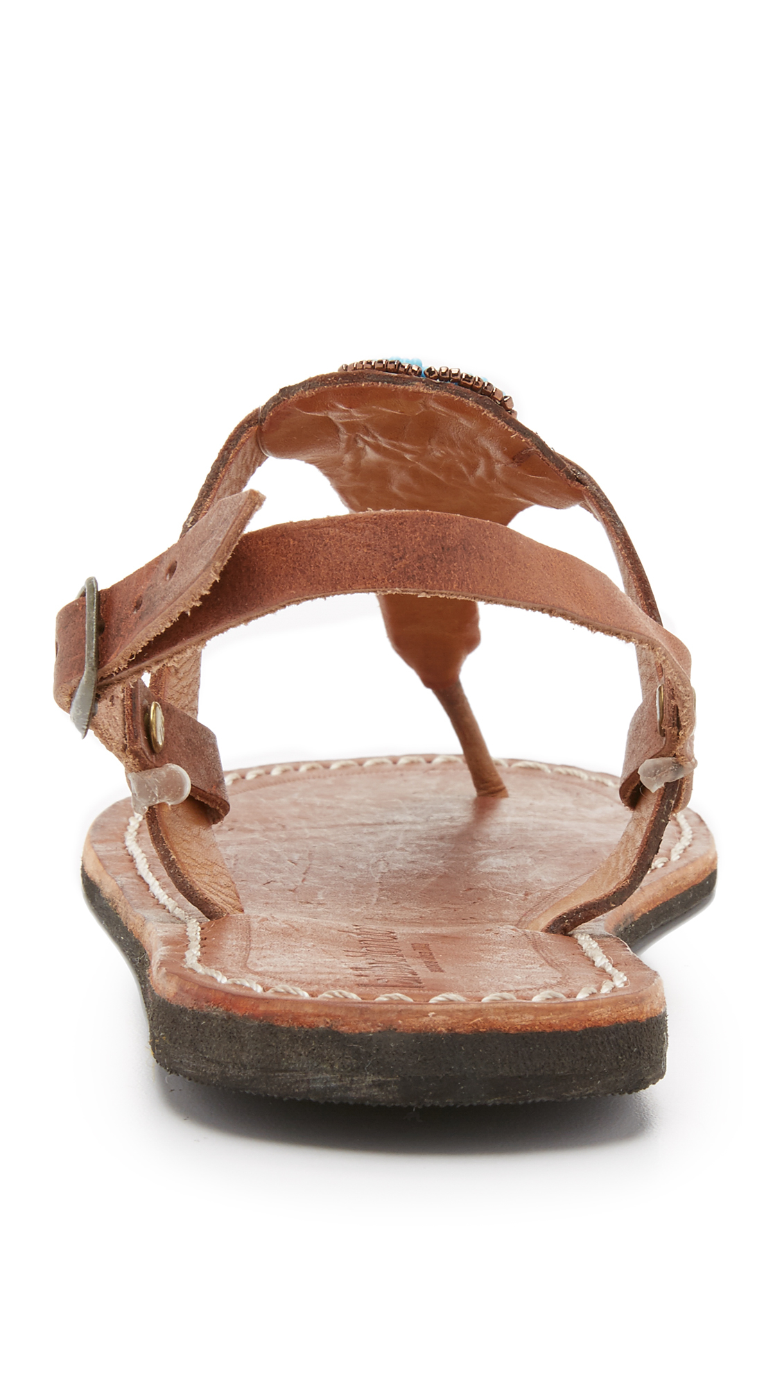 59a30385ad780 Lyst - Laidbacklondon Lucas Beaded Thong Sandals in Brown
