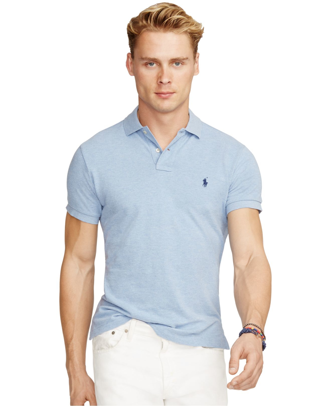 Polo ralph lauren men 39 s custom fit mesh polo shirt in blue for Ralph lauren custom fit mesh polo shirt