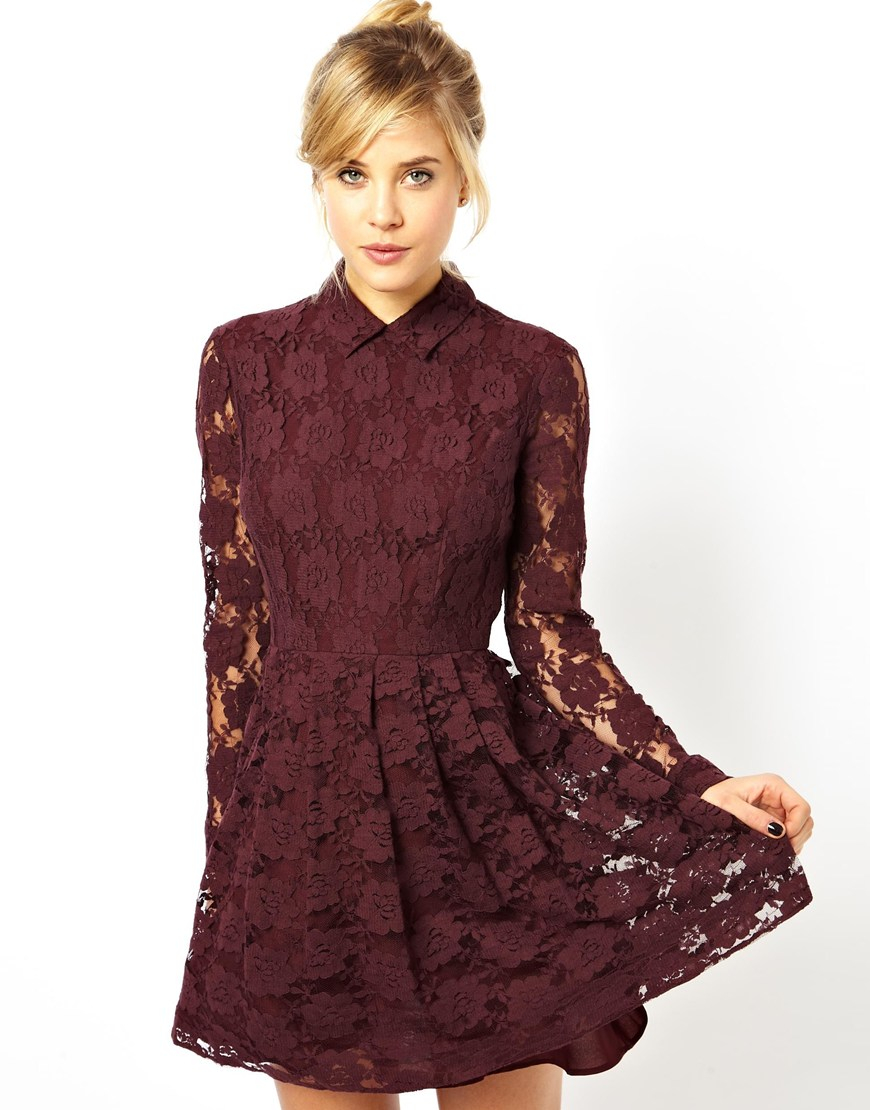Asos Skater Dress In Lace With Collar In Purple Lyst