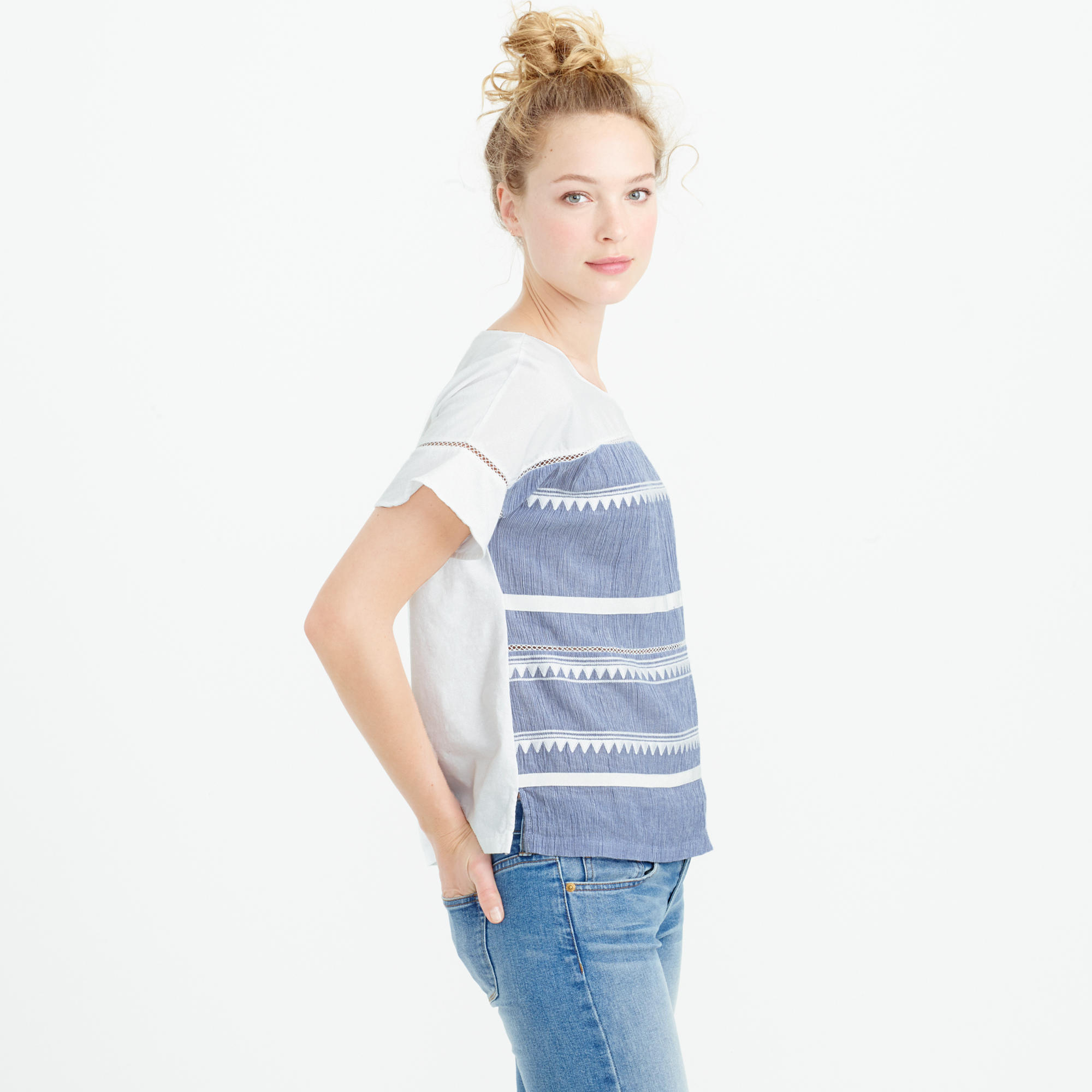 Lyst J Crew Petite Embroidered Flutter Sleeve T Shirt In