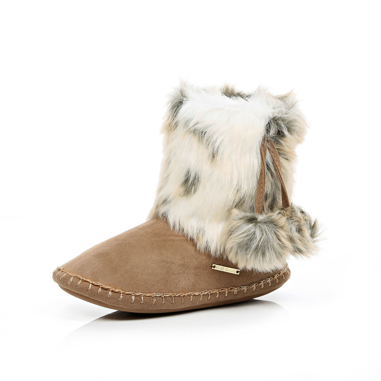 0cf310305 River Island Brown Faux Fur Slipper Boots in Brown - Lyst