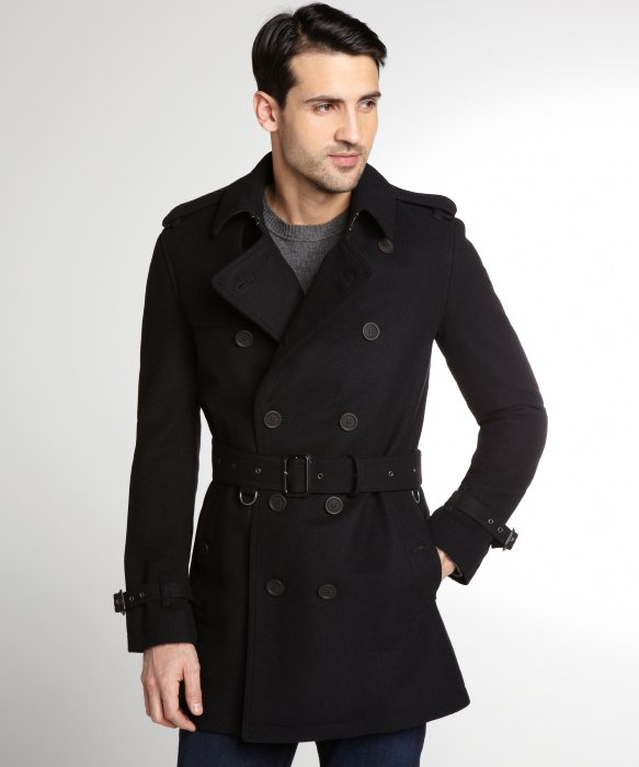 Burberry Black Wool Button Up Coat in Black for Men | Lyst