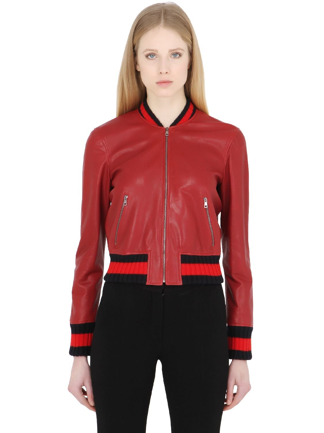 Gucci Embroidered Leather Bomber Jacket In Red  Lyst