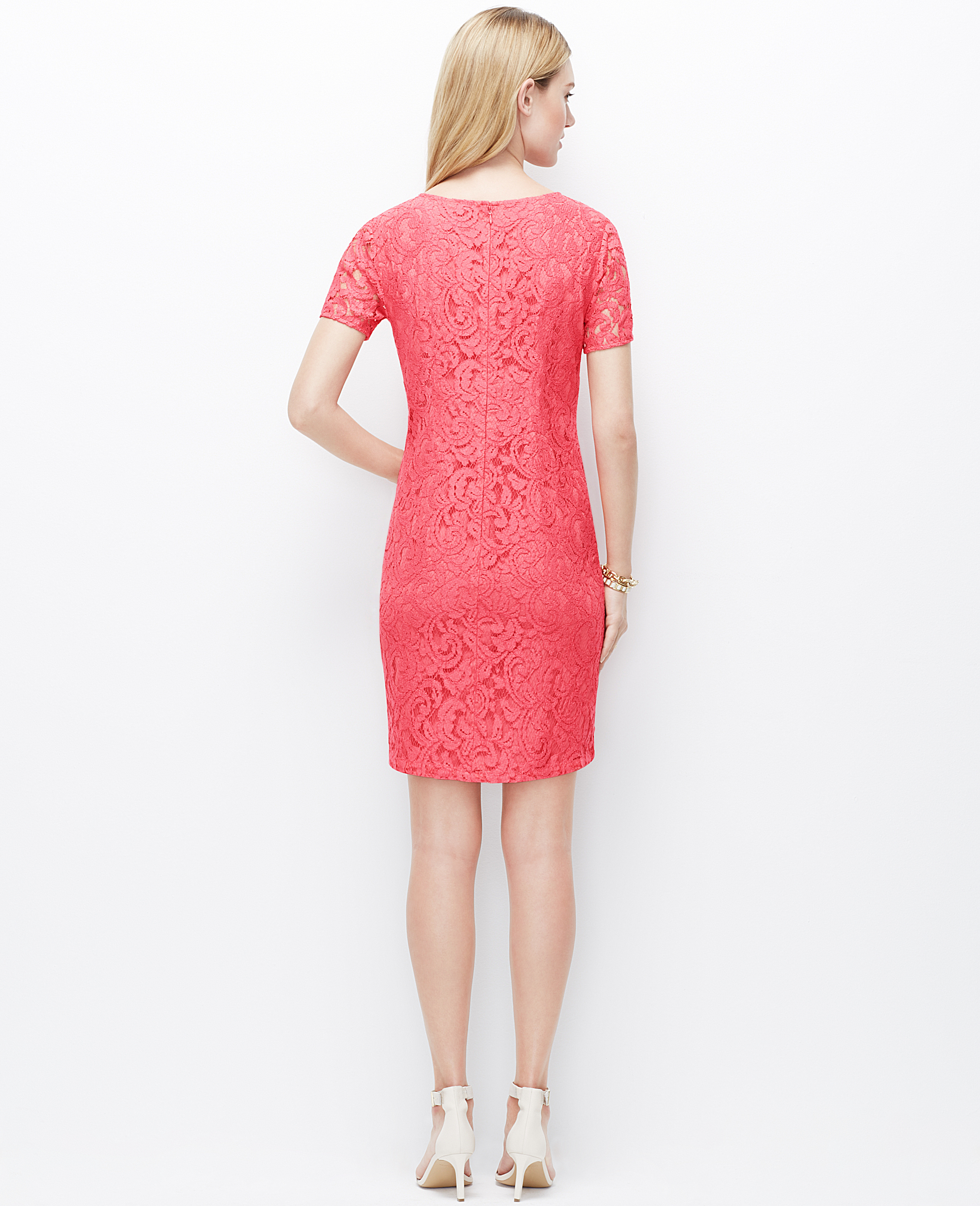 e2bd37258bcaff Ann Taylor Lace Shift Dress in Pink - Lyst