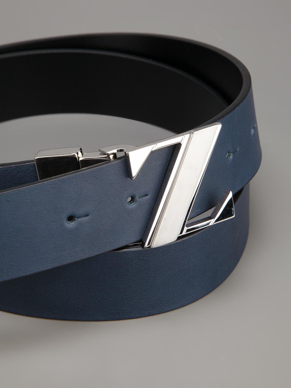 Ermenegildo Zegna Reversible Logo Belt In Blue For Men Lyst