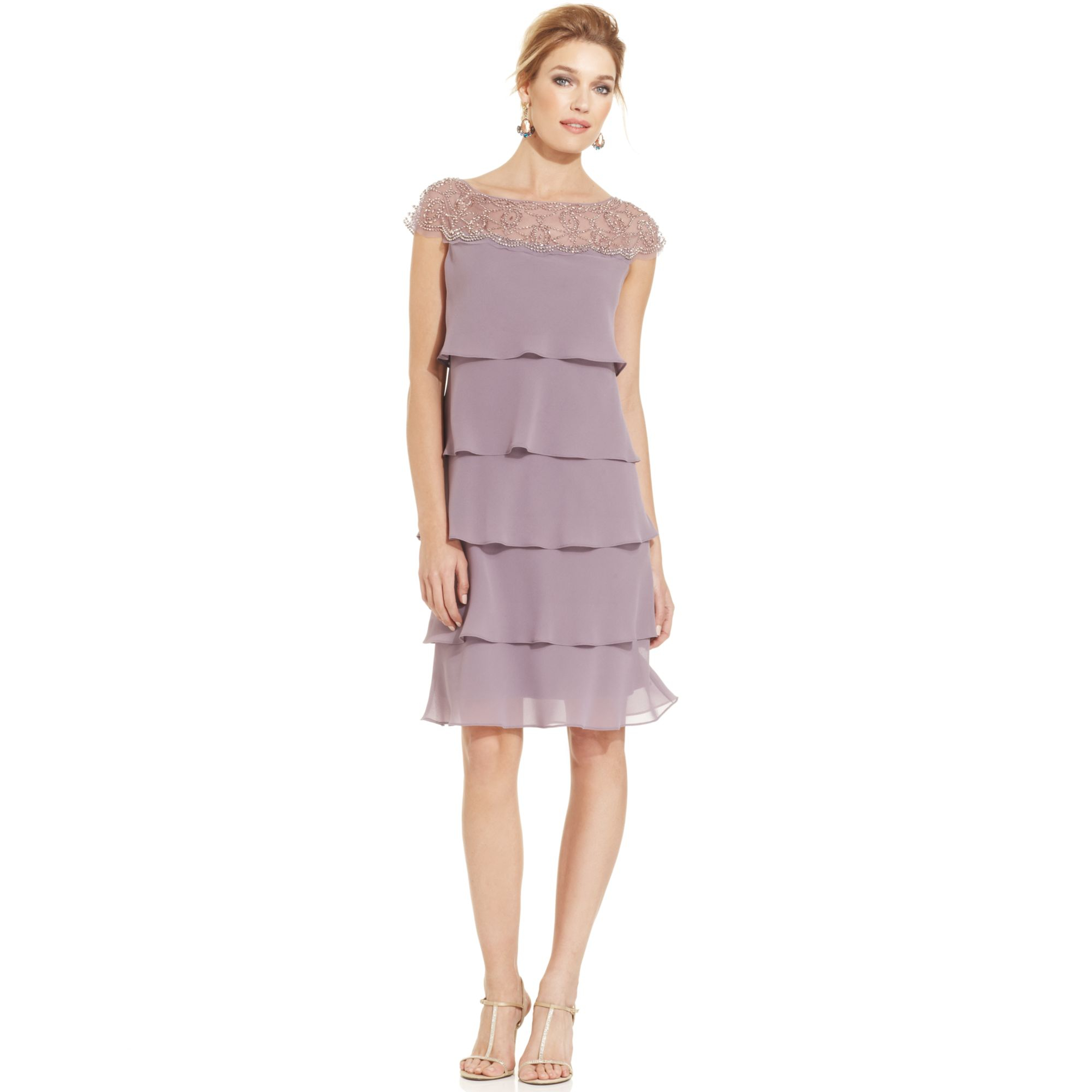 Patra Capsleeve Beaded Tiered Shift in Purple | Lyst