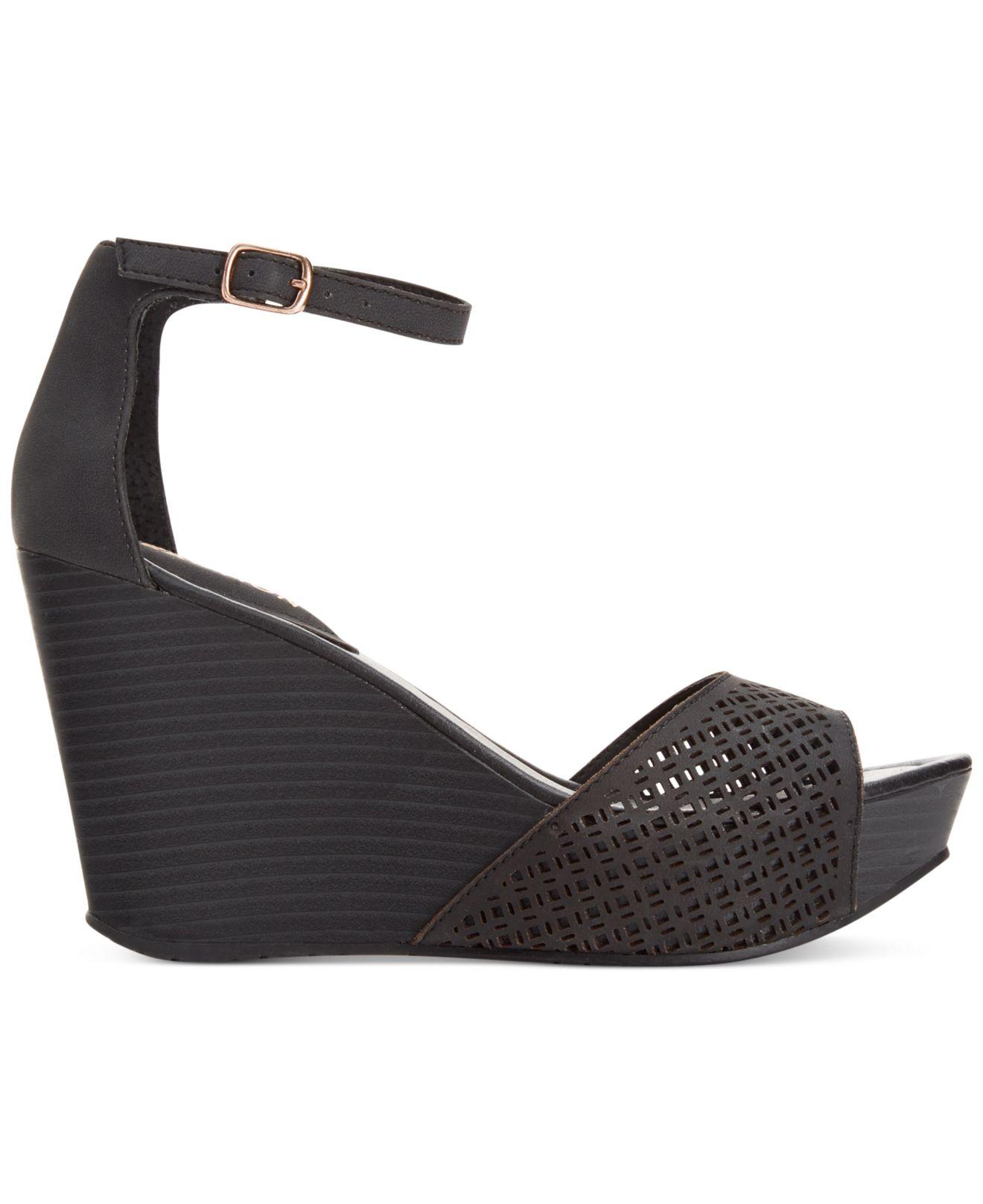2ecc82b284d Lyst - Kenneth Cole Reaction Sole Ness Platform Wedge Sandals in Black