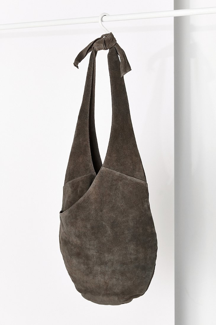 Kimchi blue Suede Knot Strap Hobo Bag in Gray | Lyst