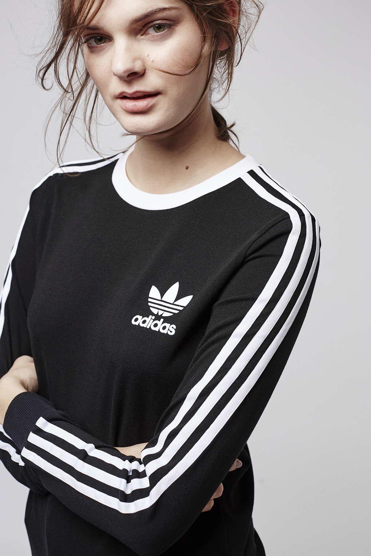 0c85c1233784b Lyst - TOPSHOP Three Stripe Long Sleeve Top Adidas Originals in Black