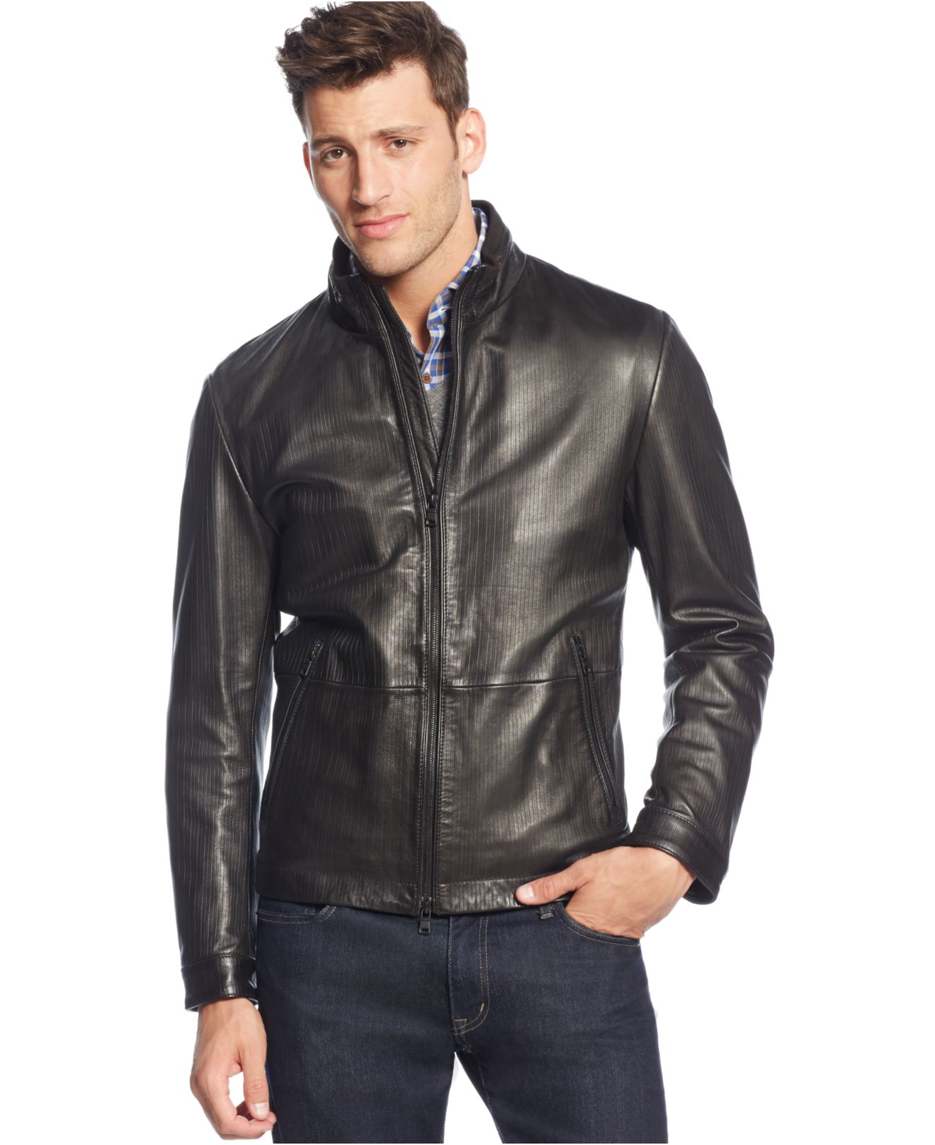 boss boss garin leather jacket in black for men lyst