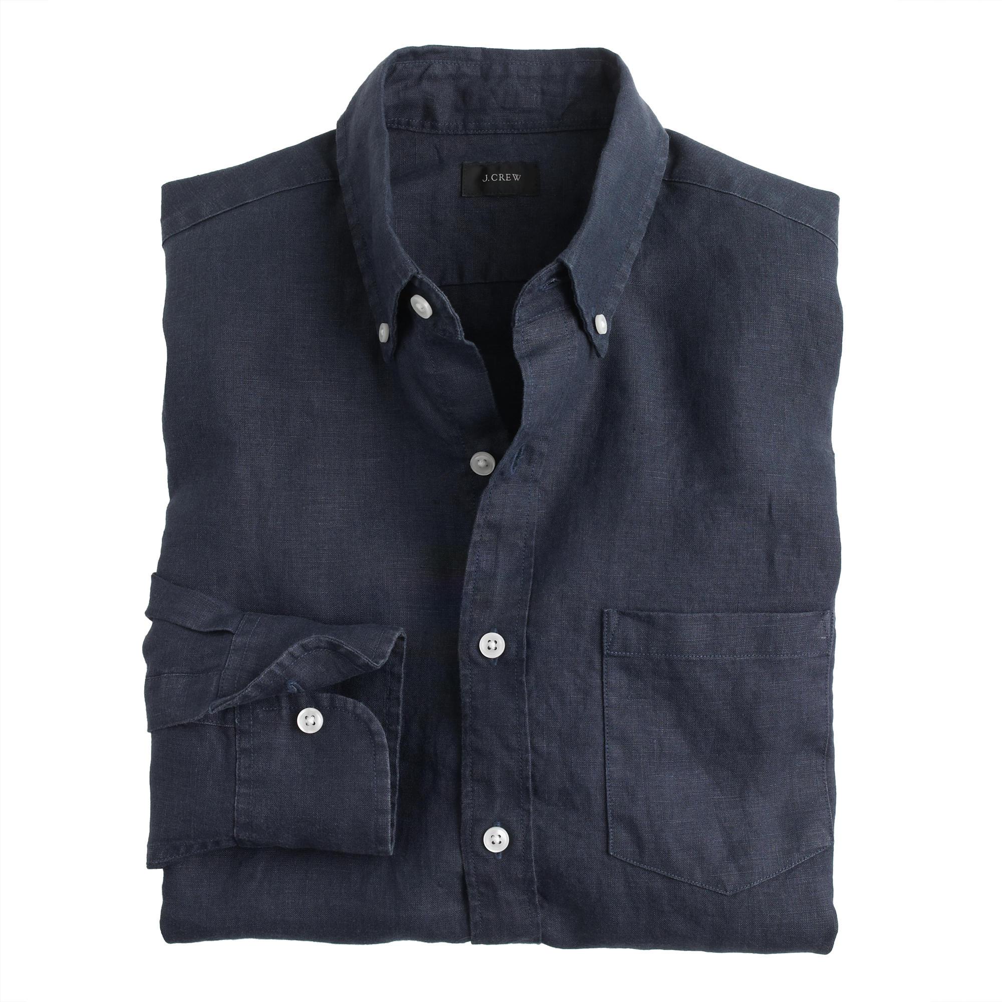 Slim irish linen shirt in solid in blue for men lyst for Irish linen dress shirts