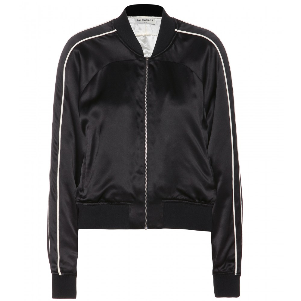 Balenciaga Silk Bomber Jacket in Black | Lyst