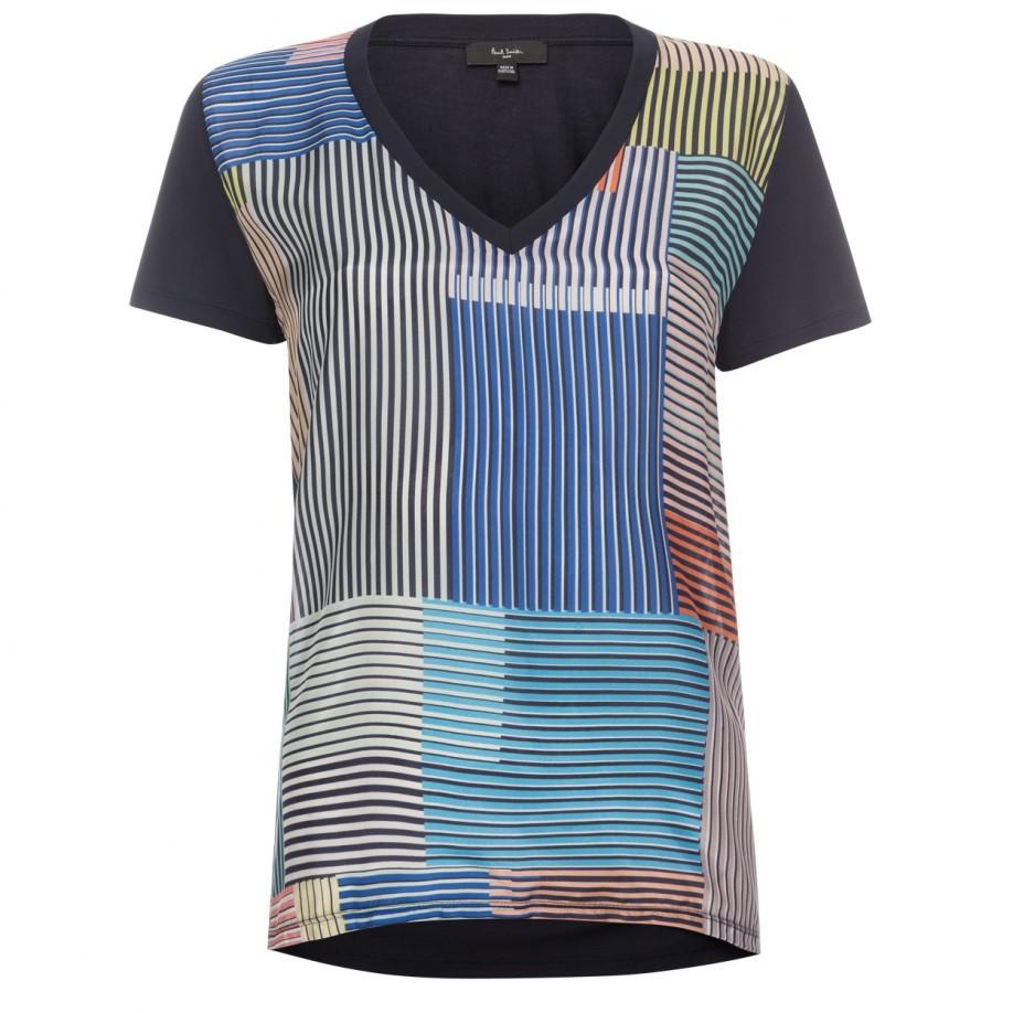 Paul smith women 39 s navy jersey and silk t shirt with for Miami t shirt printing