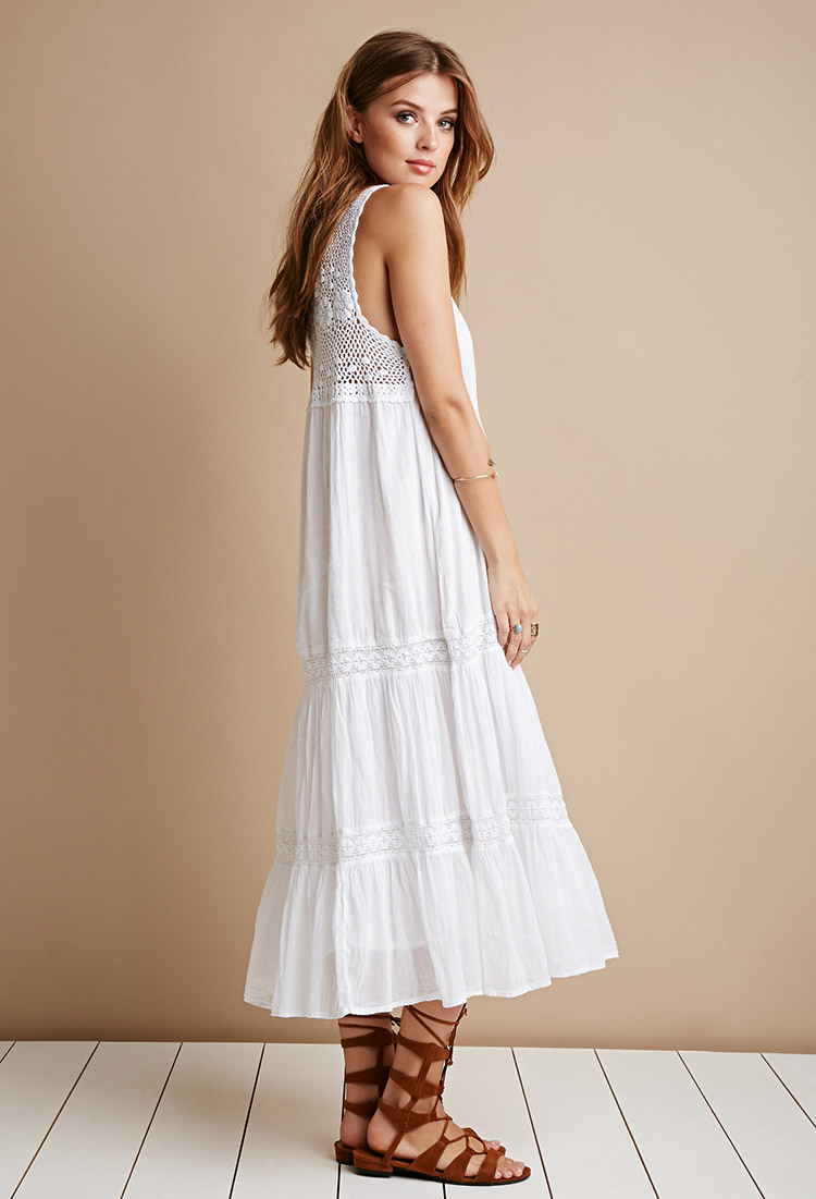 Forever 21 Raga Crochet Trim Gauze Dress in White  Lyst