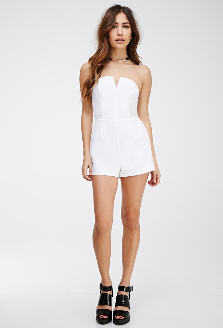 Lyst Forever 21 Notched Strapless Romper In White