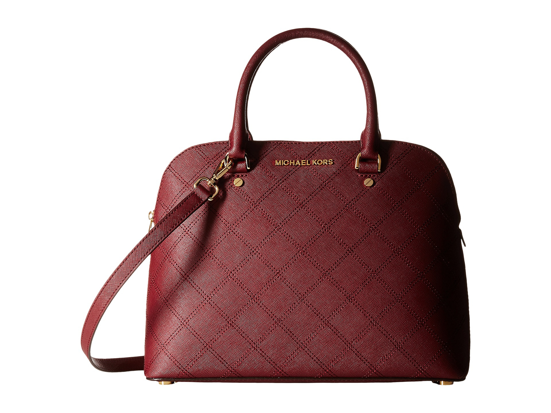 michael michael kors cindy large dome satchel in red merlot lyst. Black Bedroom Furniture Sets. Home Design Ideas