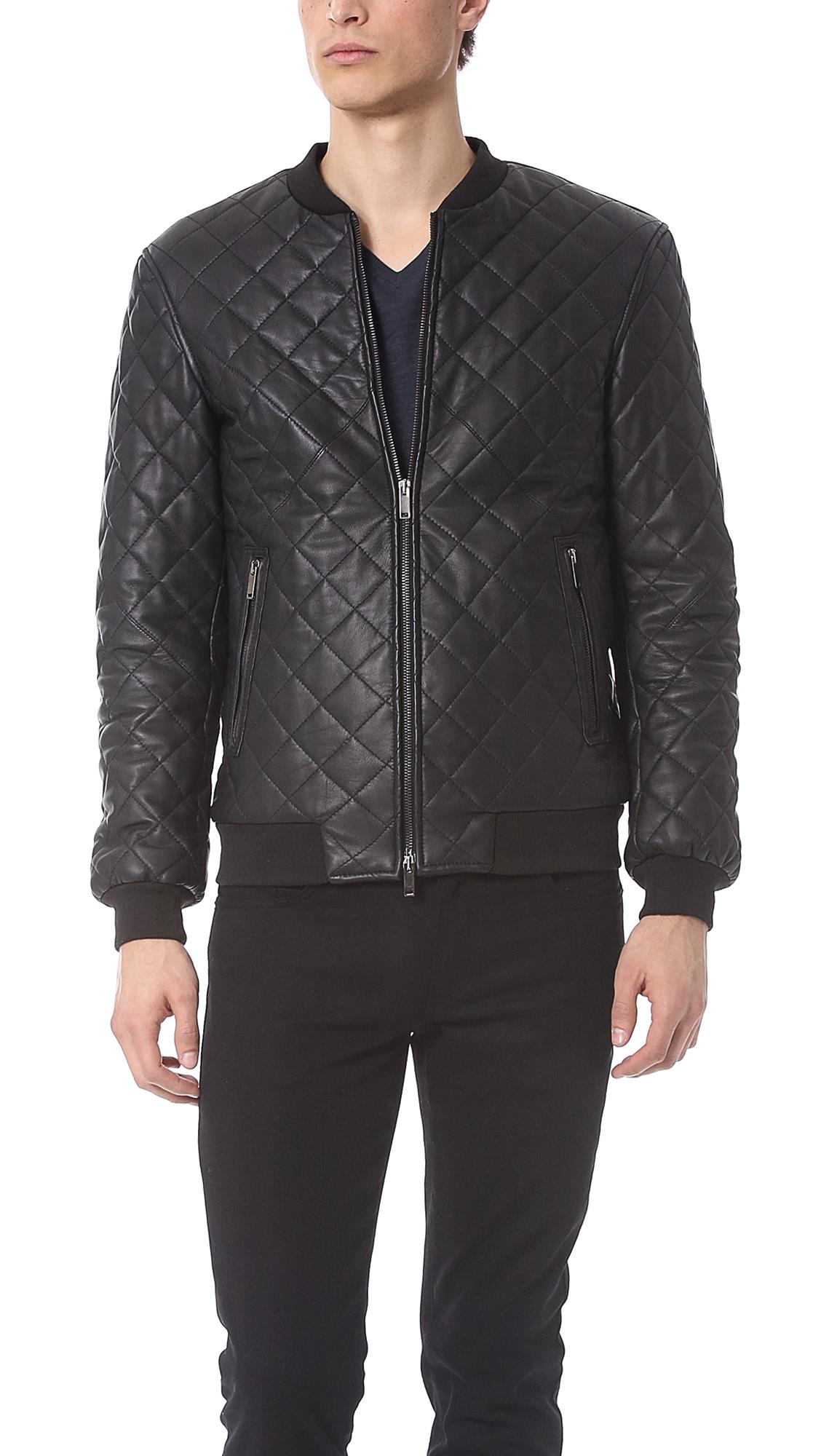 Lyst Lot78 Leather Bomber Jacket In Black For Men