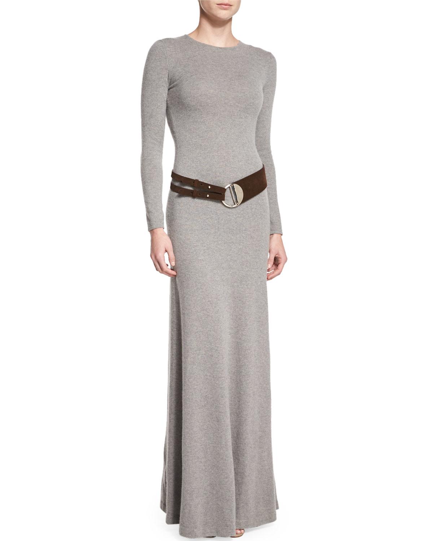 Ginia Cashmere Gowns Wrap Gown: Ralph Lauren Black Label Long-sleeve Cashmere Dress