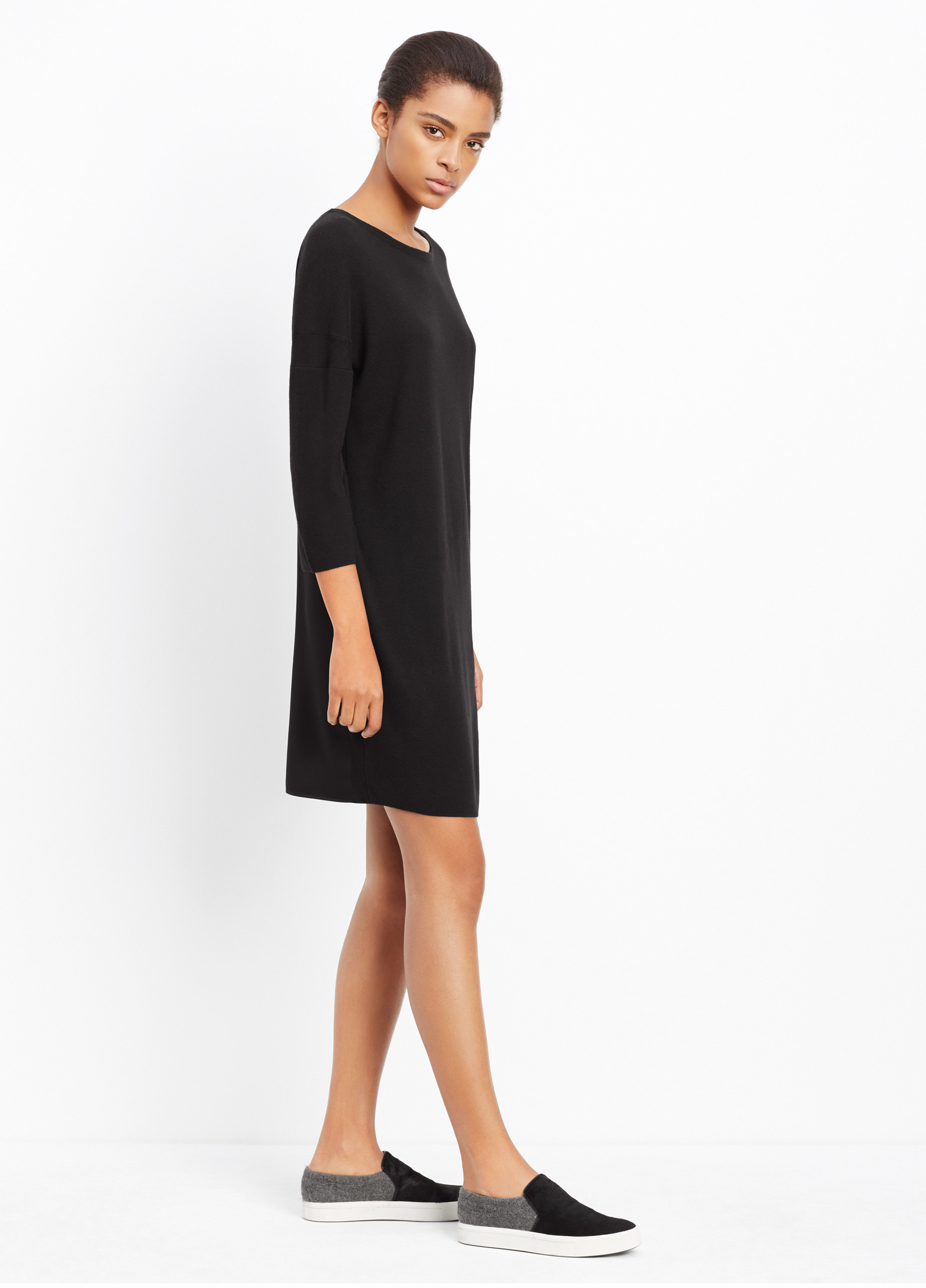 aa5952f6efbc Lyst - Vince Ribbed Crepe Shift Dress in Black