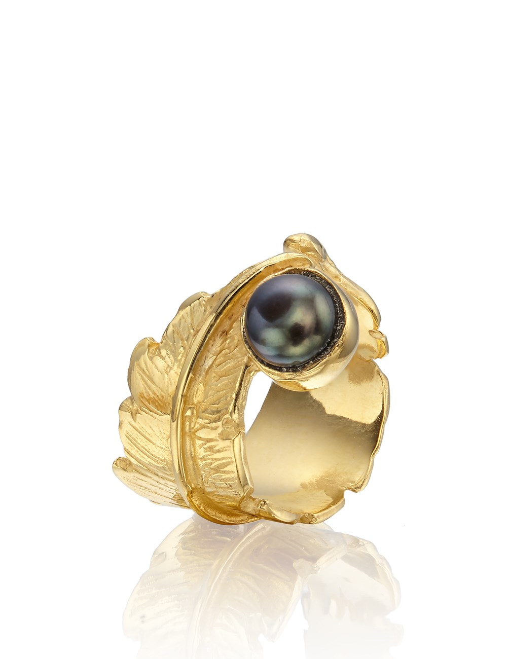 leivan kash gold pearl feather open ring in metallic lyst