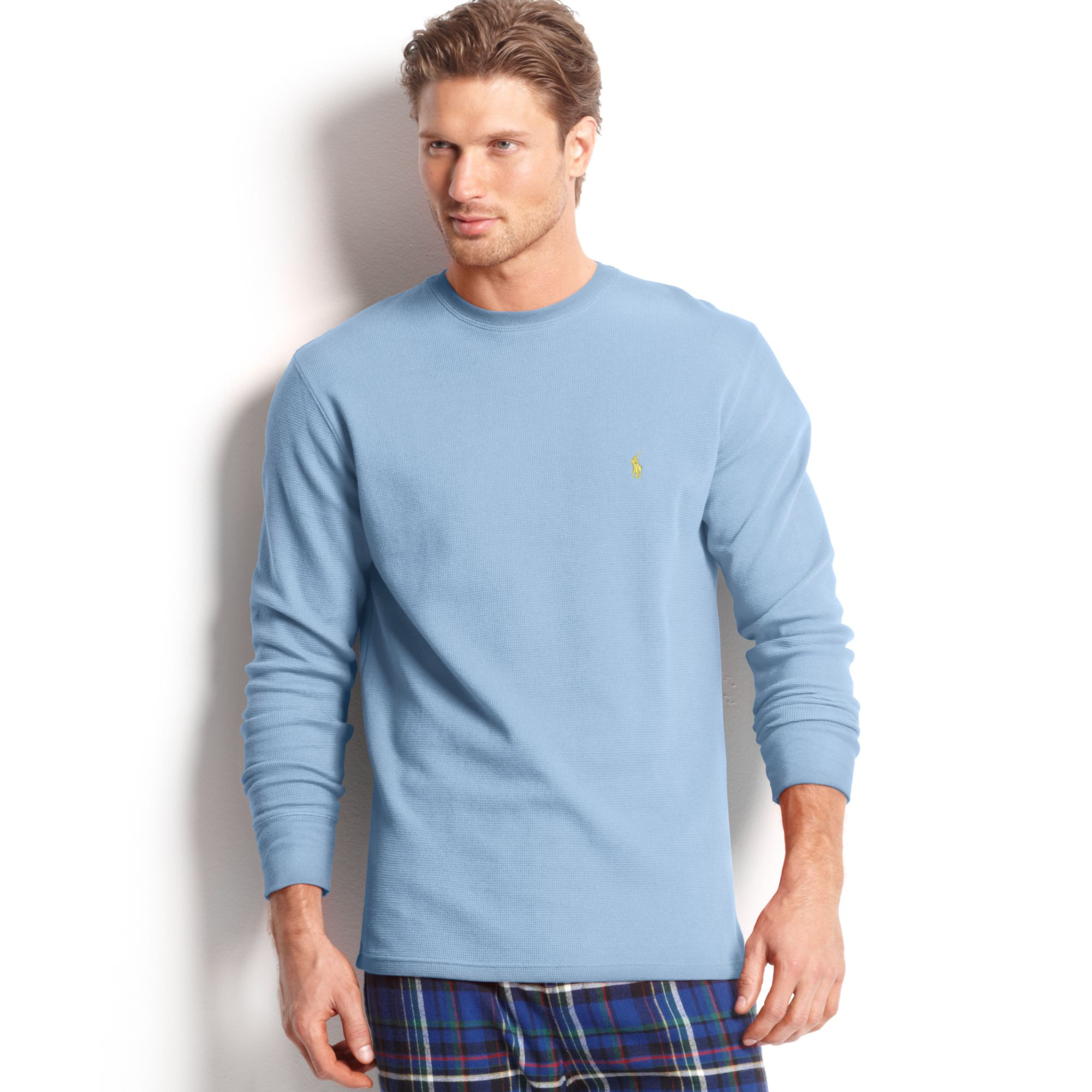 45f515fa ... closeout lyst ralph lauren polo mens waffle thermal pajama tshirt in  blue cf460 7e5f2