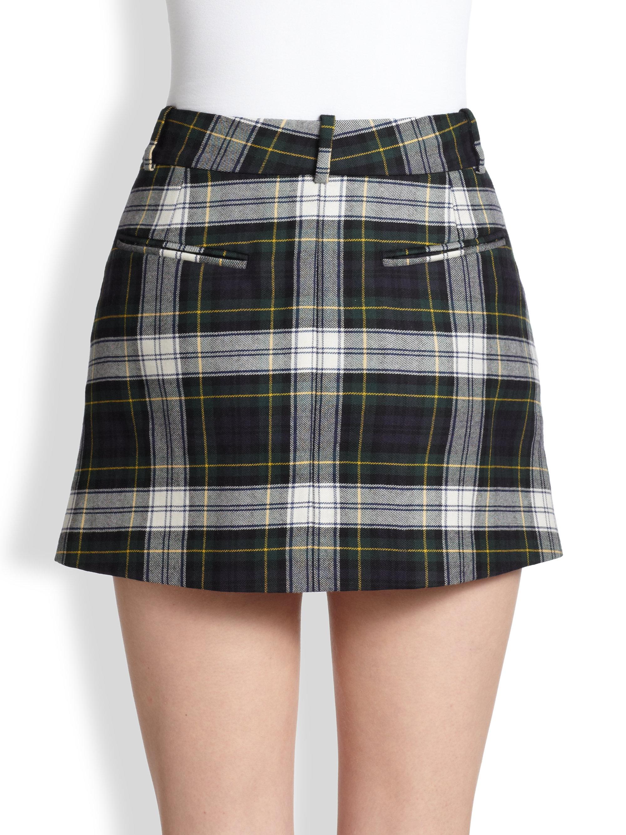 Wool Plaid Skirt - Skirts