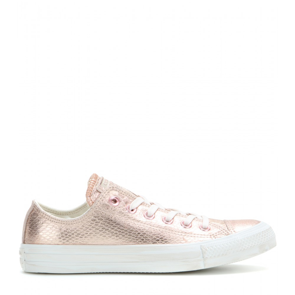 converse chuck taylor ox metallic leather sneakers in pink. Black Bedroom Furniture Sets. Home Design Ideas