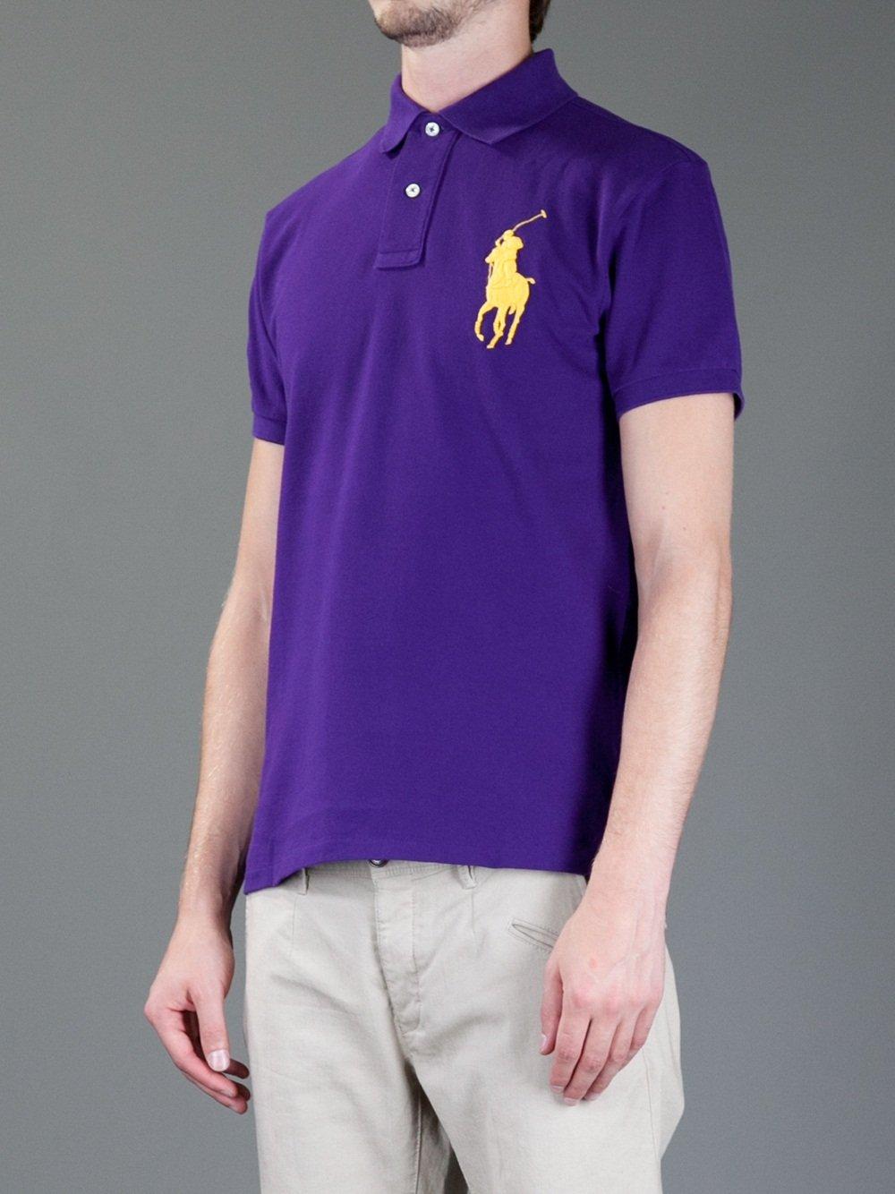 92d50e54ad ... czech ralph lauren blue label logo polo shirt in purple for men lyst  92dbd 09991