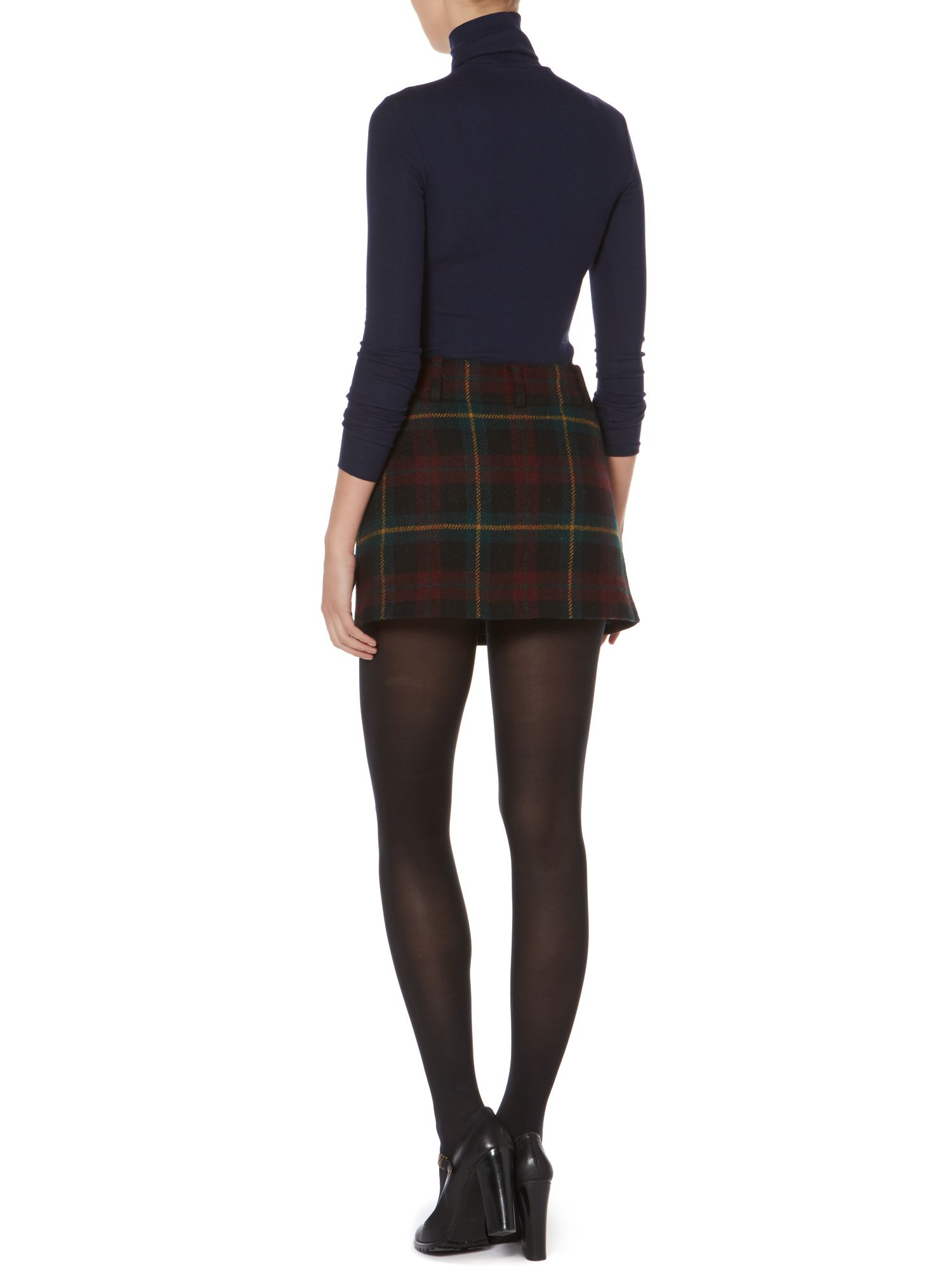 Polo ralph lauren Tartan Wool Mini Skirt in Purple | Lyst