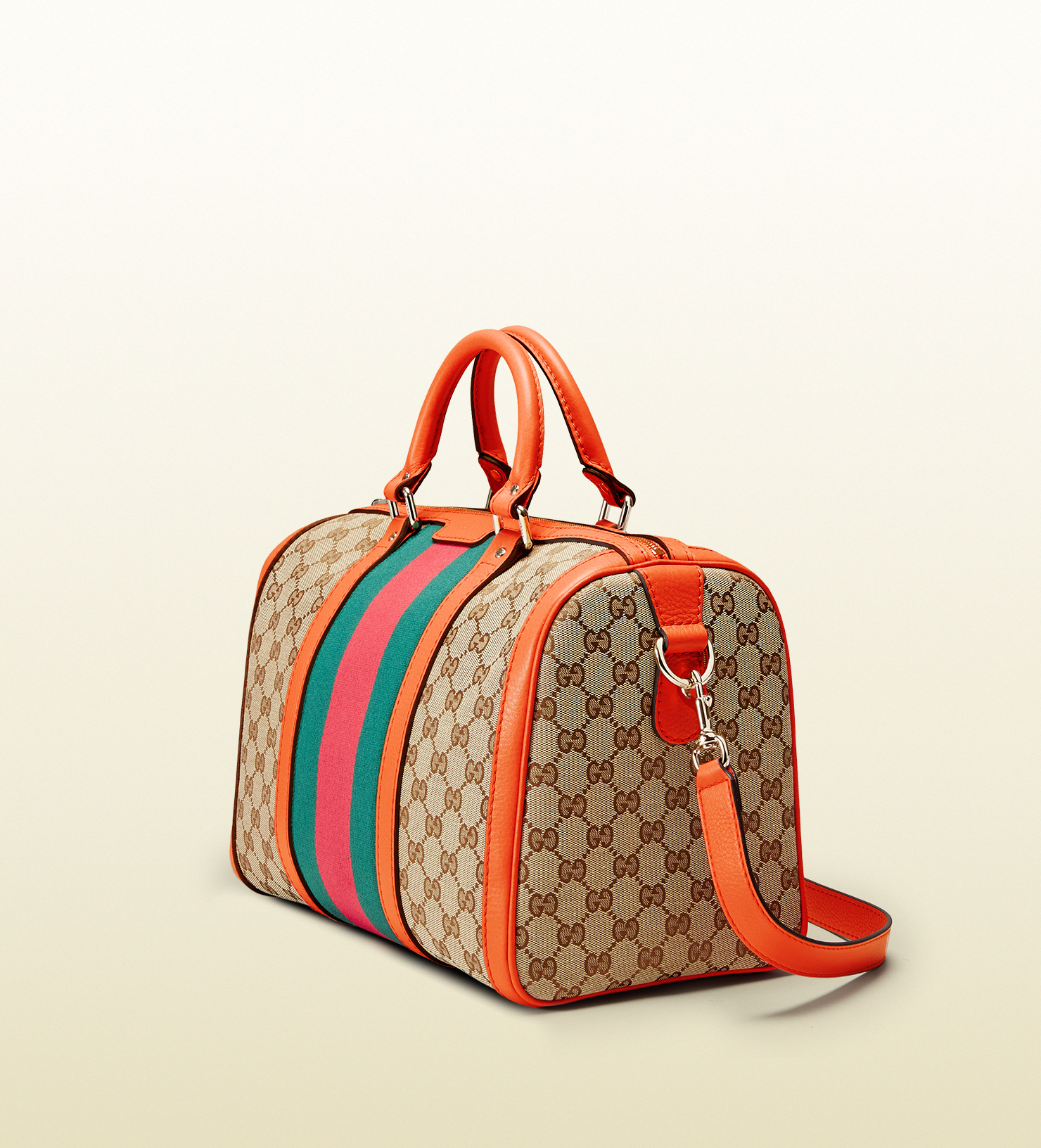 034e7bb26d15 Gucci Vintage Web Original Gg Canvas Boston Bag in Orange - Lyst