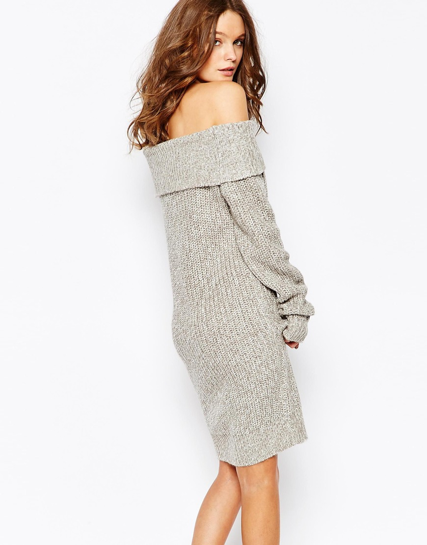 fe955730f4c Fashion Union Knitted Off Shoulder Sweater Dress in Gray - Lyst