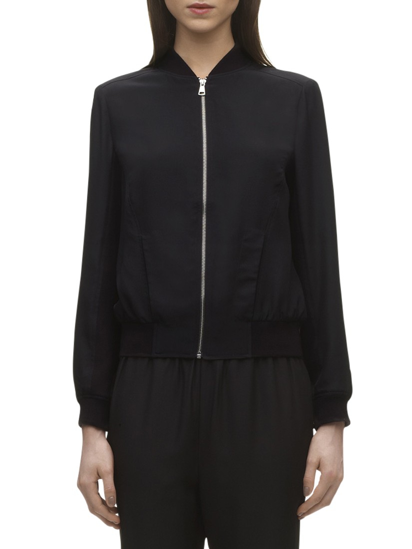 Whistles Silk Bomber Jacket in Black | Lyst