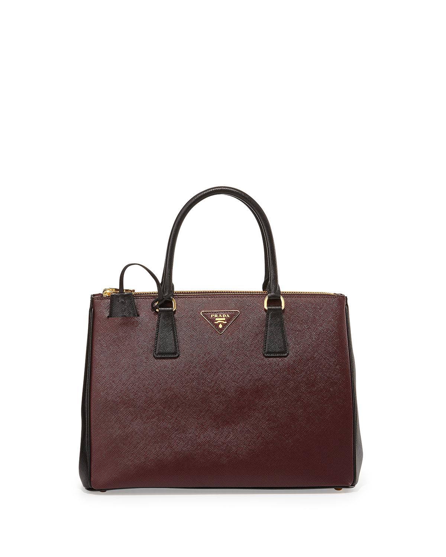 Prada Saffiano Lux Bicolor Double-zip Tote Bag in Purple ...