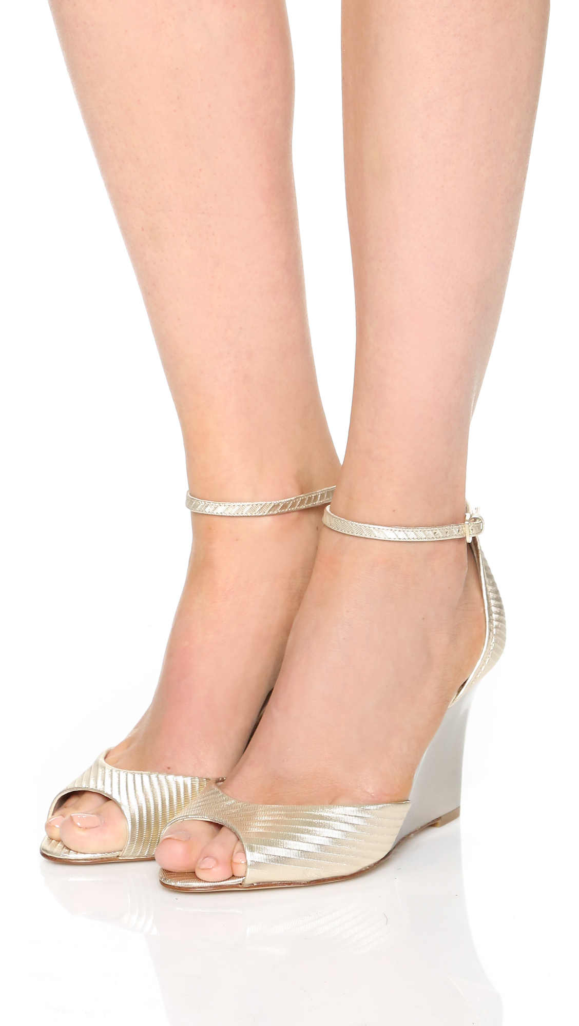 0951e3684e L.K.Bennett Coco Wedge Sandals in Metallic - Lyst