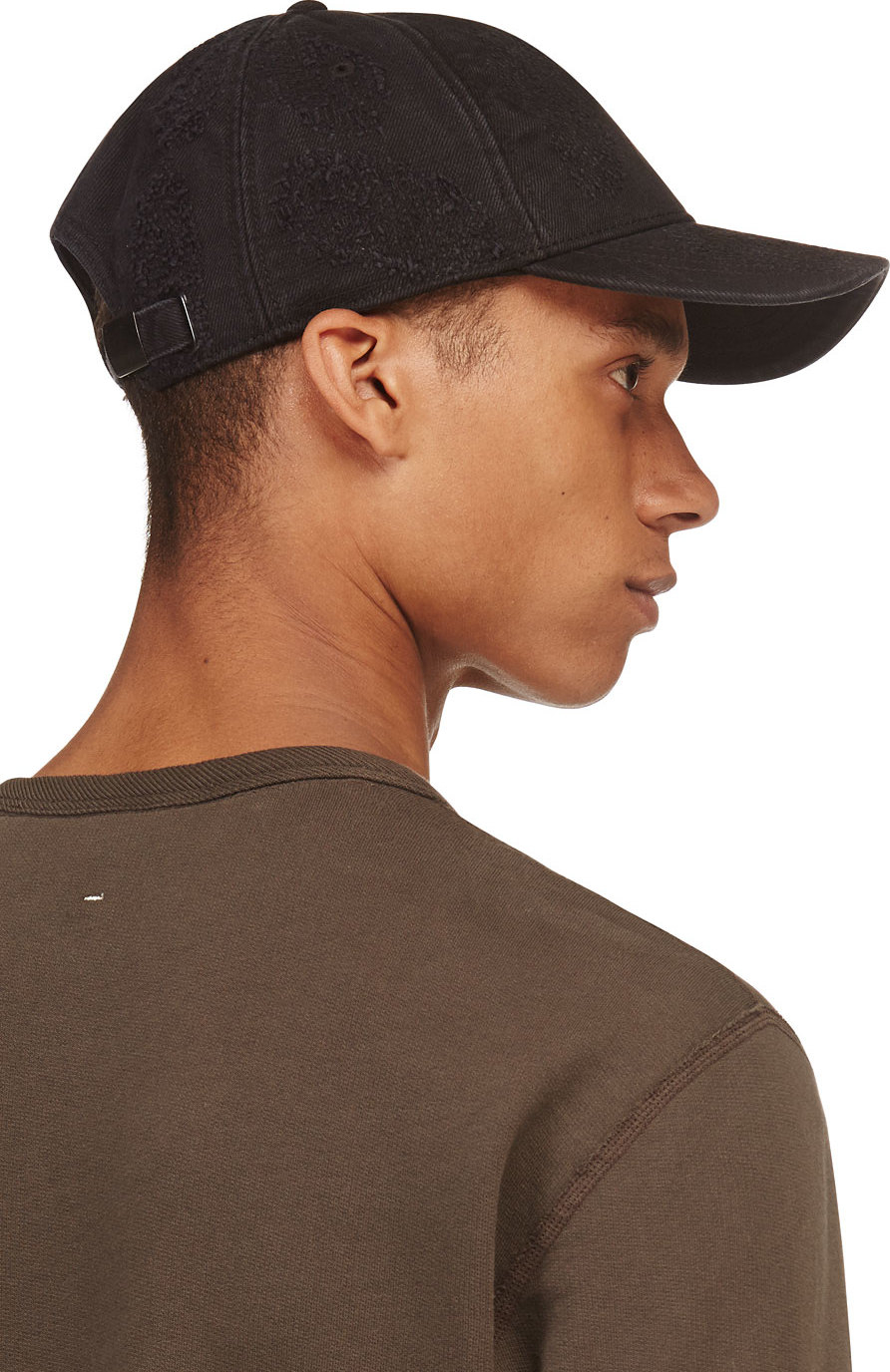 9322e041be48a4 DIESEL Black Distressed Castroyd Cap in Black for Men - Lyst
