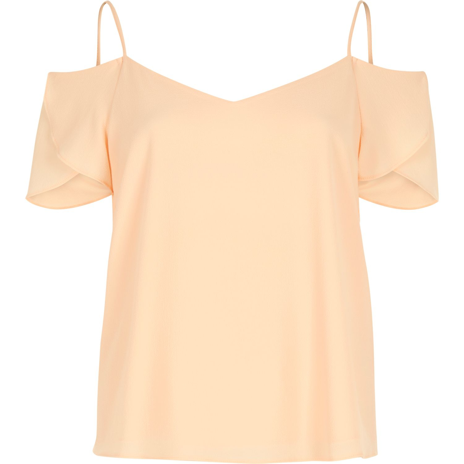 544bb92fdfdb92 River Island Light Coral Cold Shoulder Frilly Sleeve Top in Orange - Lyst