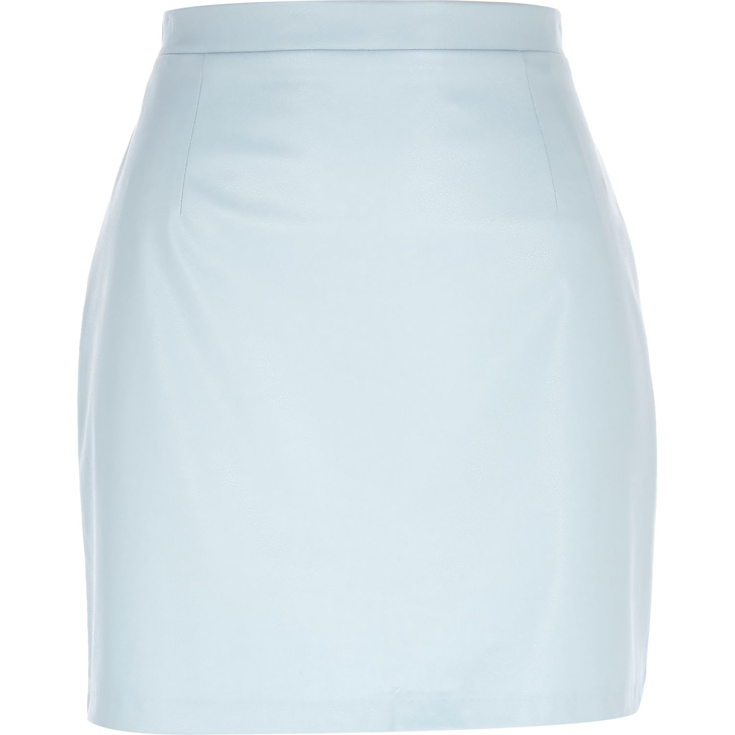 Light Blue Leather Skirt