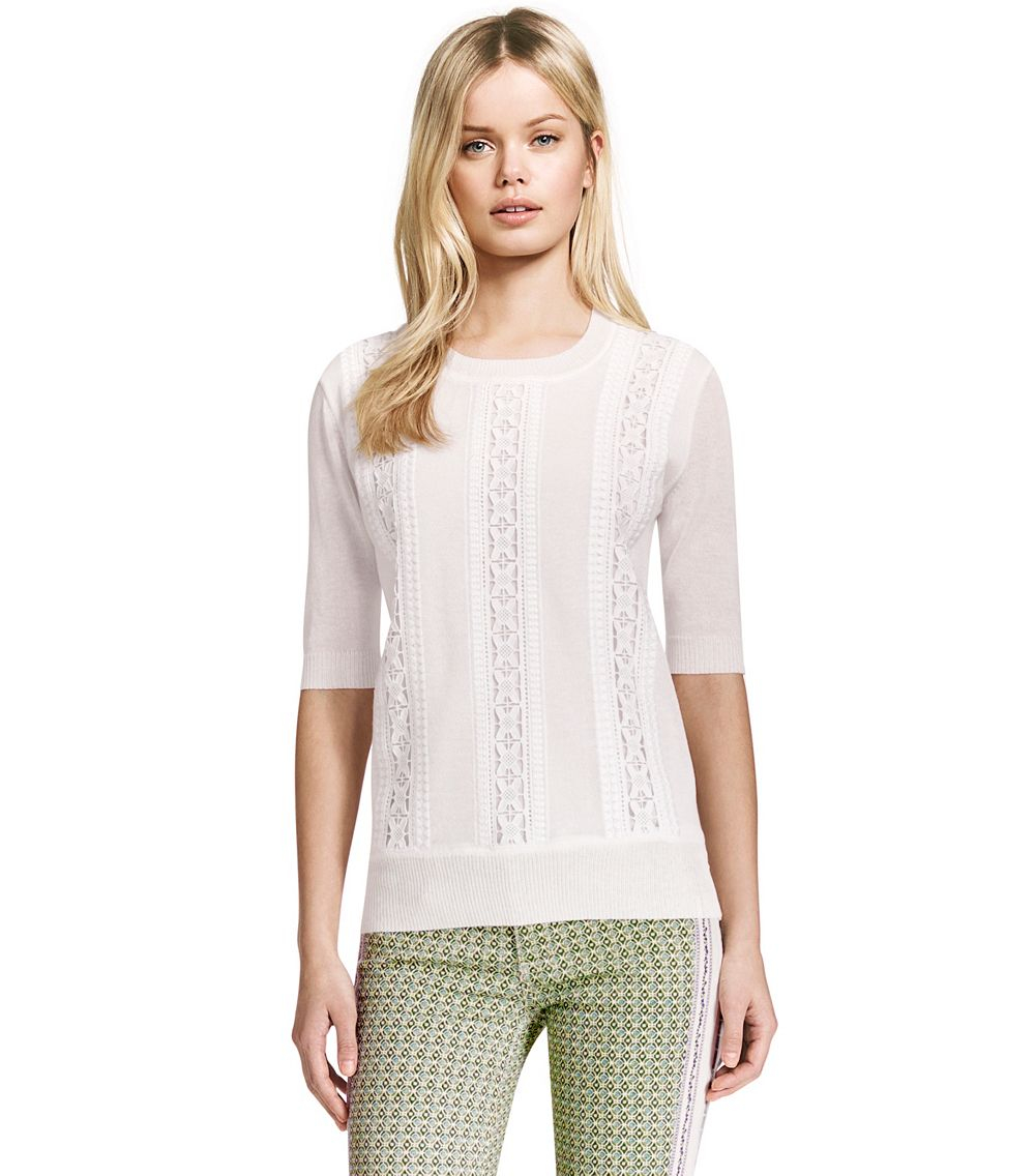 Lyst tory burch maci sweater in white for Tory burch fashion island