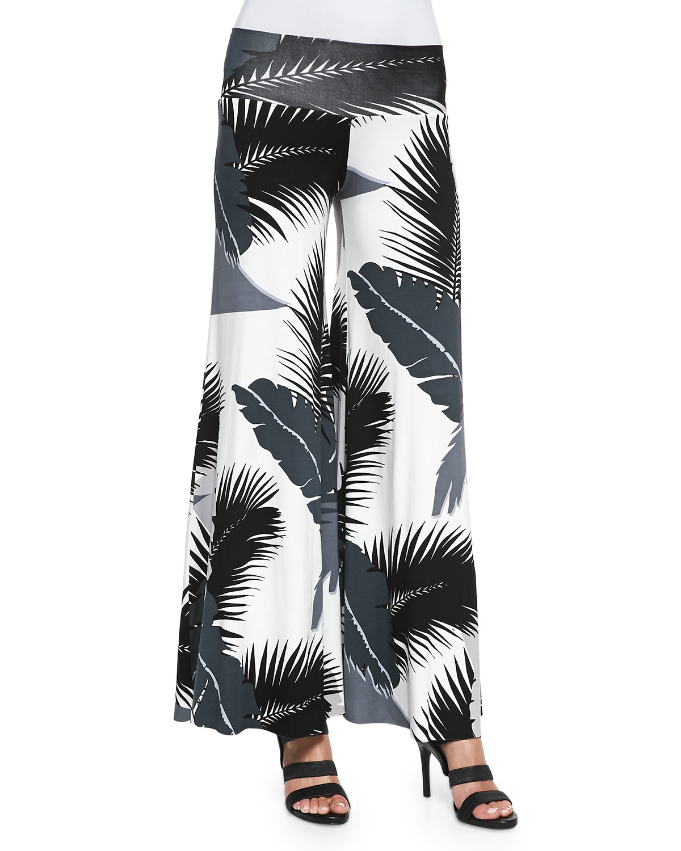 Rachel pally Tropical-print Wide-leg Pants in White | Lyst