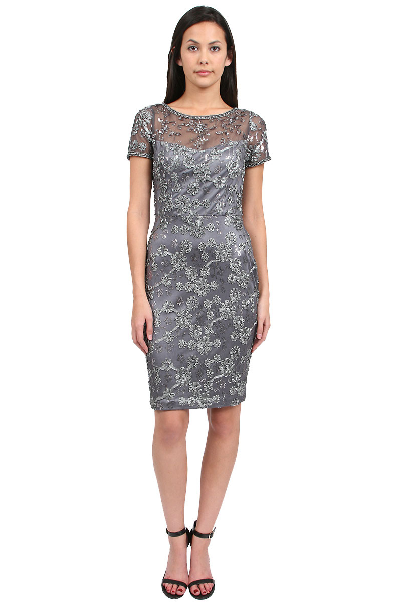 sue wong sheath dress with short sleeves 60 off in gray