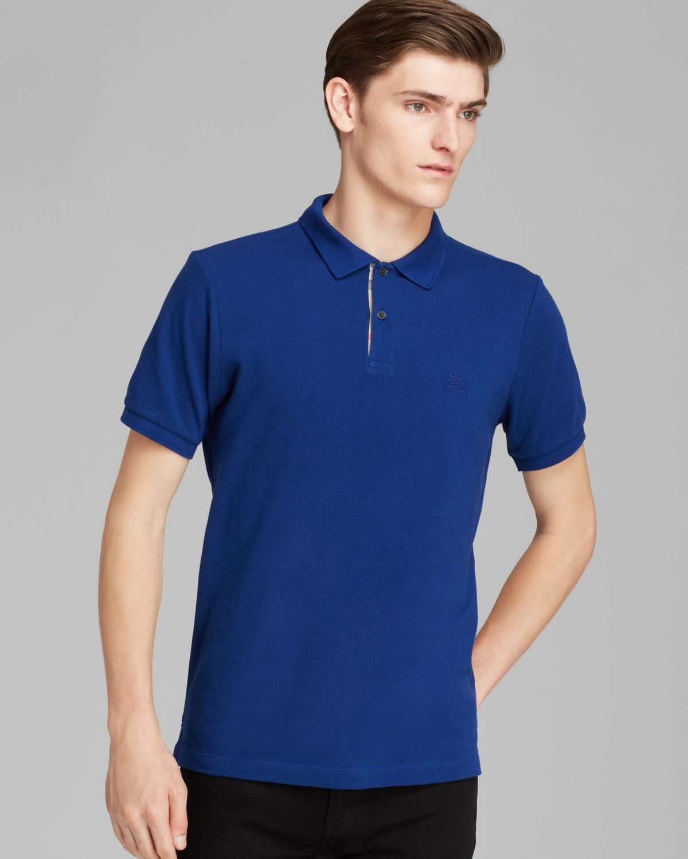 Lyst Burberry Brit Shortsleeve Slim Polo In Blue For Men