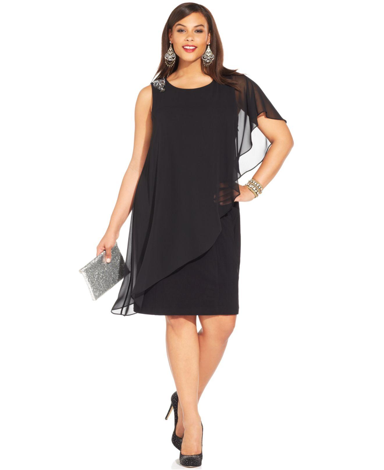 e2f5951db42d Plus Size Chiffon Overlay Maxi Dress