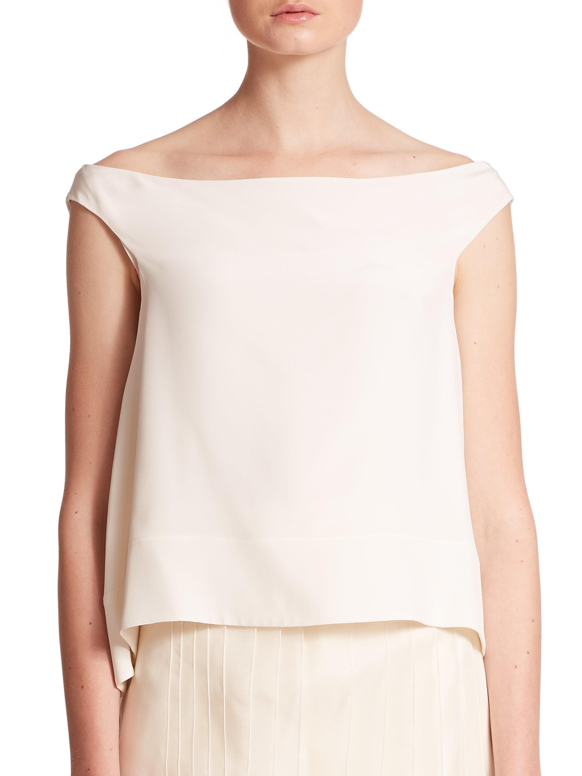 1f2d288c2c2e4 White Silk Off The Shoulder Blouse - Best Blouse 2018