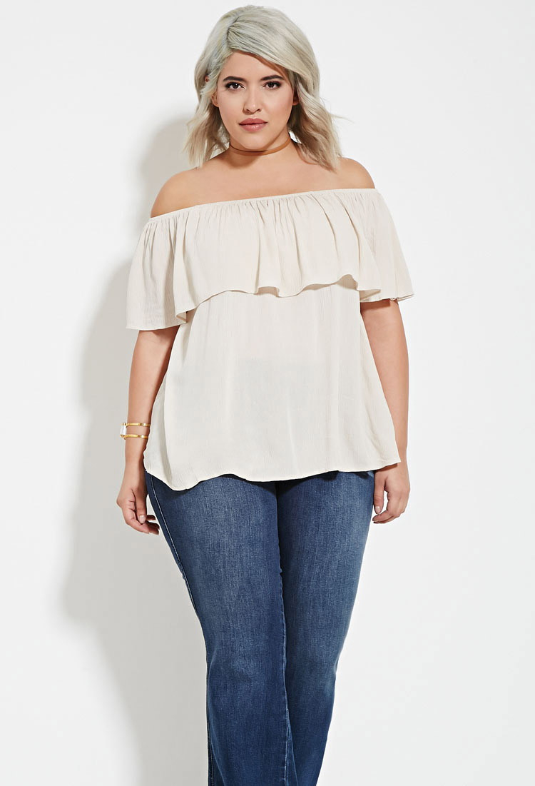 f10336efb902c9 Lyst - Forever 21 Plus Size Off-the-shoulder Flounce Top in Brown
