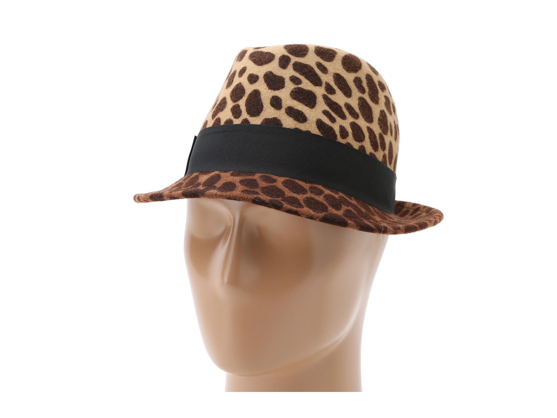 57ce15d332a82 Hat Attack Wool Felt Leopard Print Fedora - Lyst