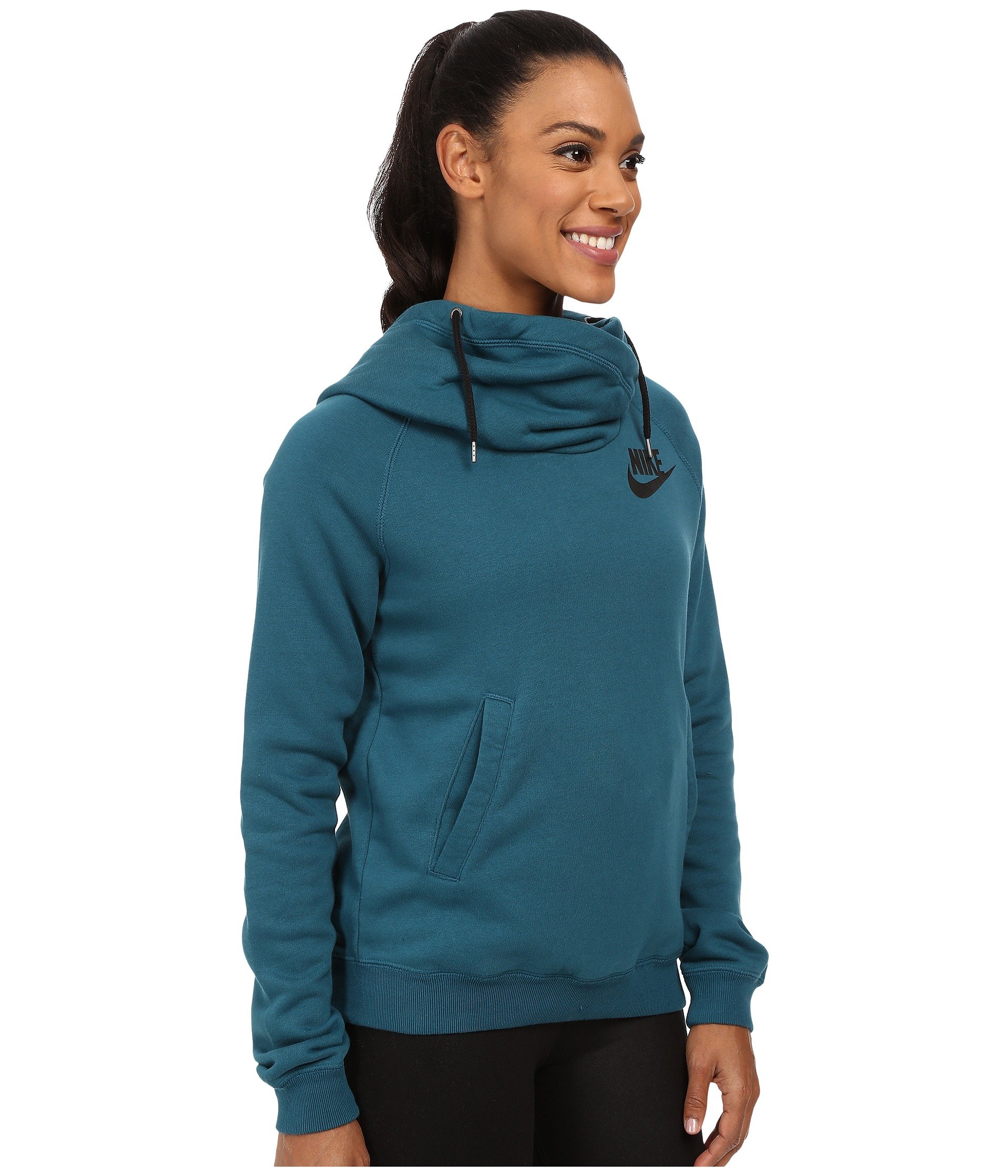lyst nike rally funnel neck hoodie in blue