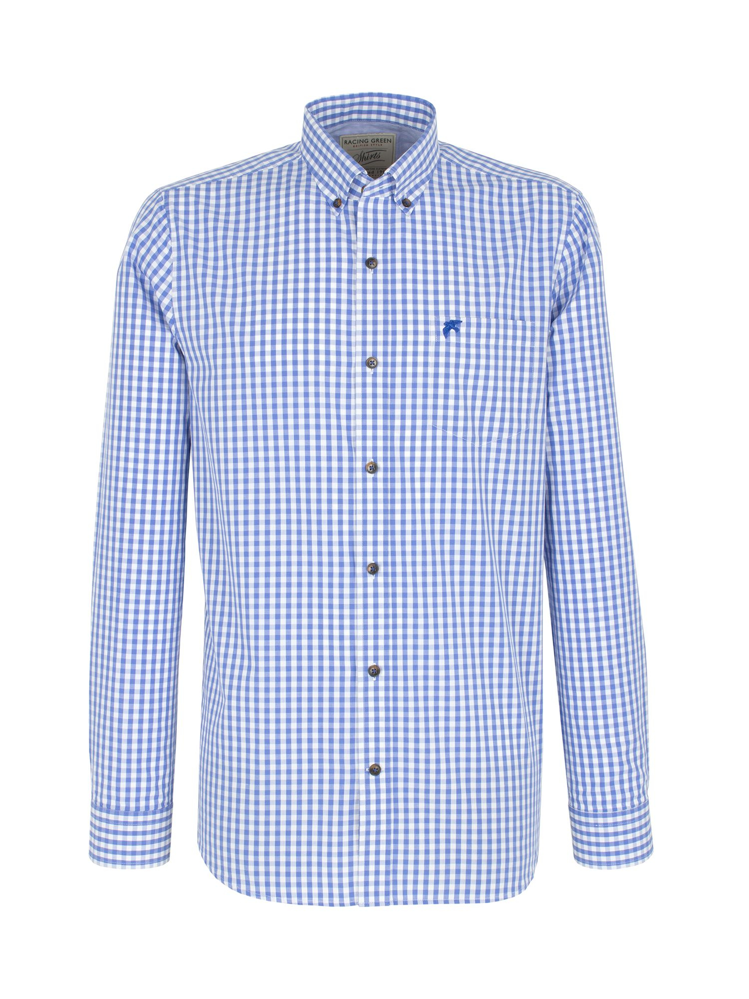 Racing green newbridge gingham shirt in blue for men mid for Mens blue gingham shirt